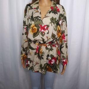 Vintage 70's Teddi of California Floral Tunic/ M/L